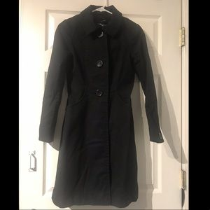 Black Ribbed w/ lining material Trench Coat